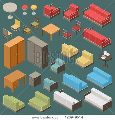 Vector set of isometric furniture on the dark background