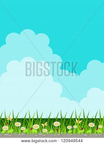 Vector background with grass and sky with clouds