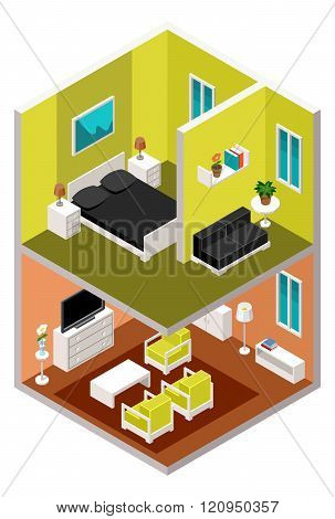 Vector isometric house in a section with furniture
