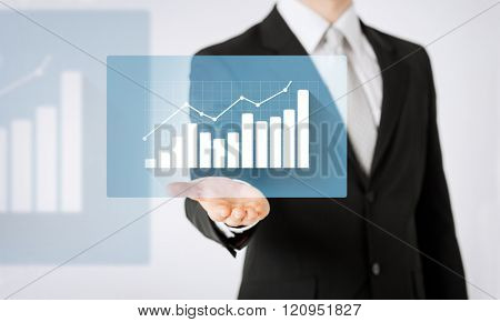 people, business, tecnology and progress concept - close up of man hand showing diagram chart projection