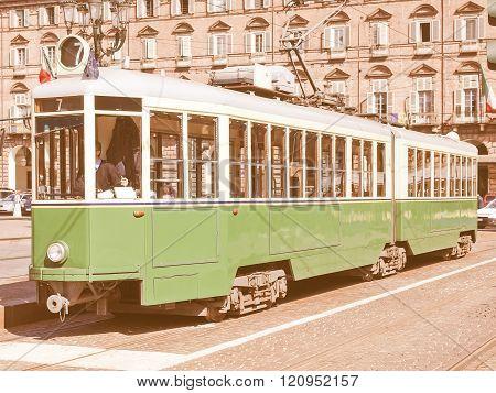 Old Tram In Turin Vintage