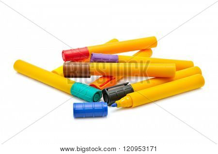 collection markers isolated on white background