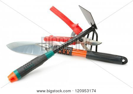 Garden tools isolated on white background.