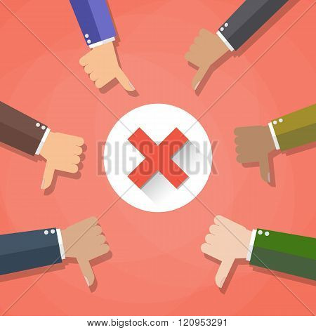 Six cartoon Businessmans hands hold thumbs down. negative checkmark in center, vector illustration f