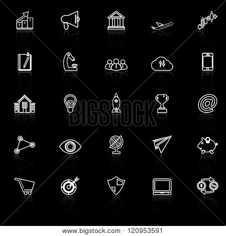 Startup business line icons with reflect on black background stock vector