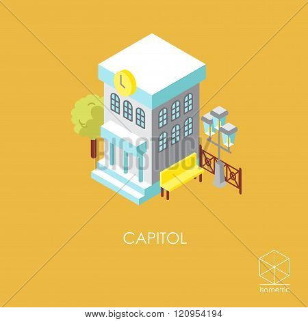 Isometric Color Vector Icon City Hall