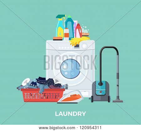 Laundry Washing Machine, Vacuum and Detergents