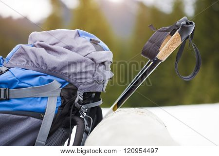 The Backpack And Walking Sticks.