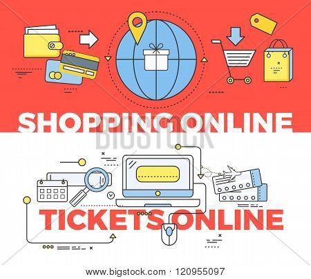 Shopping and Tickets Online Concept