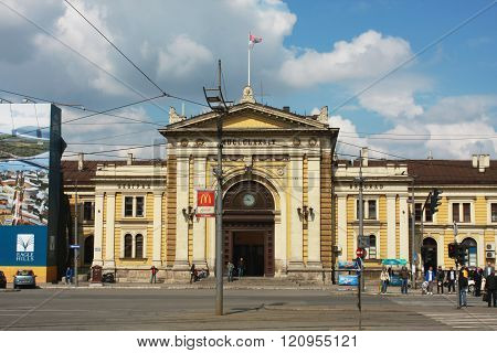 Belgrade, Serbia - Front Facade Of The Belgrade-glavna Railway Station.