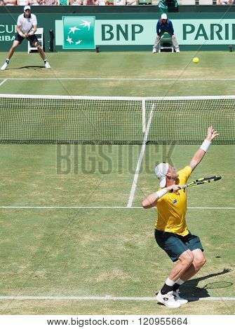 Australian Tennis player Sam Groth during Davis Cup singles against John Isner