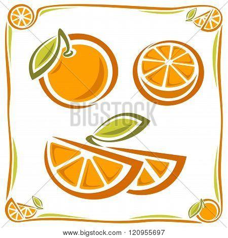 Vintage orange and slices