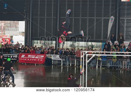 Stuntman jumping during stunt show