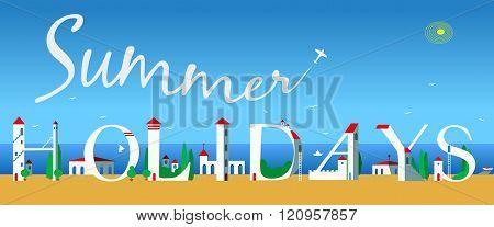 Inscription Summer Holidays. Vector Illustration
