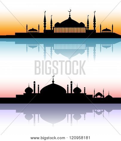 Mosque architecture silhouettes sunset cityscapes