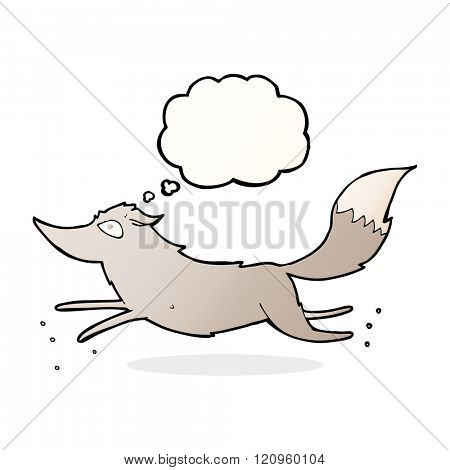 cartoon wolf running with thought bubble