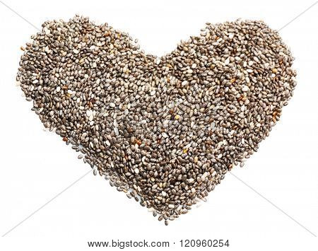 Heart shaped chia seeds isolated on white