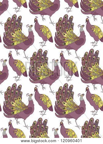 vector pattern with peafowls