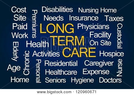 Long Term Care Word Cloud on Blue Background