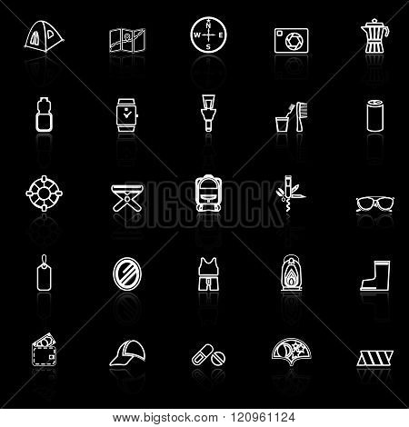 Camping necessary line icons with reflect on black background stock vector