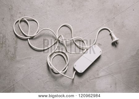 white electric extension cable