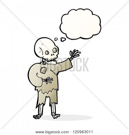 cartoon skeleton waving with thought bubble