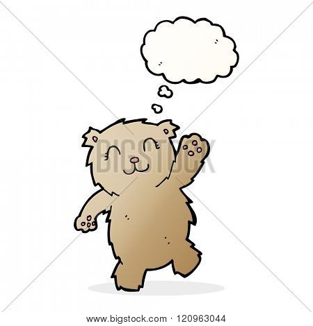 cartoon waving teddy bear with thought bubble