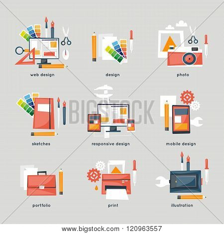 Web design, graphic design, illustration, responsive design set of icons.