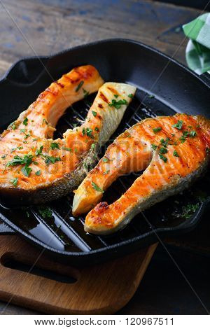 Grilled Salmon on a grill pan