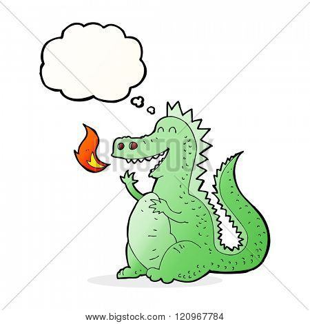 cartoon fire breathing dragon with thought bubble