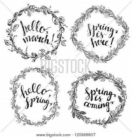 Vector Hand Drawn Line Art Ink Flower Wreaths With Spring Lettering