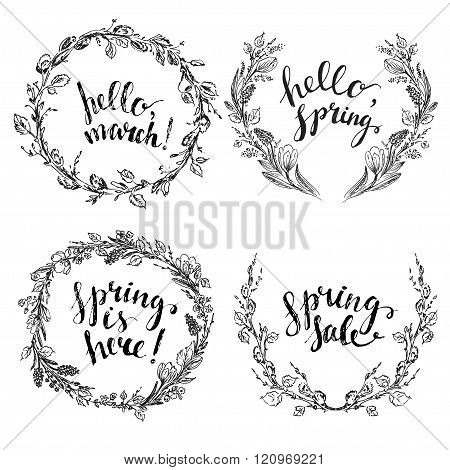 Set Of Hand Drawn Spring Flower And Branch Wreaths