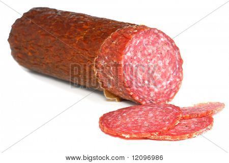 Close-up image of a salami studio isolated on a white background