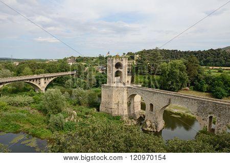 Bridges Across Fluvia River In Besalu, Catalonia, Spain.