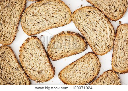 Close Up Of Sliced Wheaten Bread