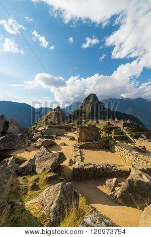 Sunlight At Machu Picchu, Peru, With Scenic Sky