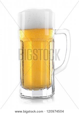 Glass of light beer, isolated on white