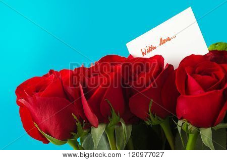 Bouquet Of Roses And Card With Love