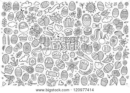 Sketchy vector hand drawn doodles cartoon set of Easter objects