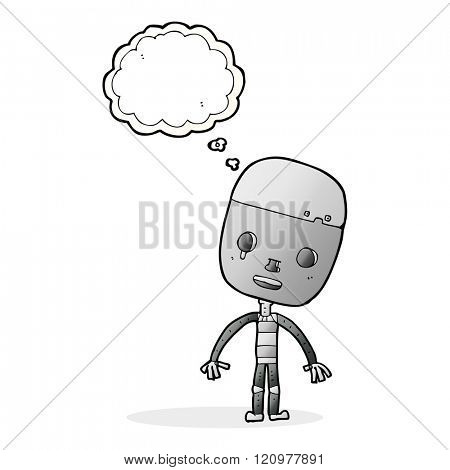 cartoon sad robot with thought bubble