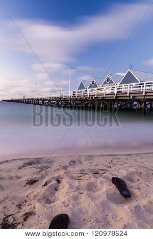 BUSSELTON, AUSTRALIA - FEBRUARY 24, 2014: Extending 1.8 kilometres across stunning Geographe Bay, the heritage listed Busselton Jetty is the longest timber-piled jetty in the Southern Hemisphere.