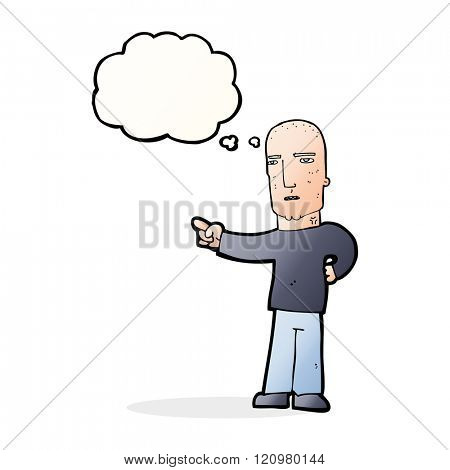 cartoon tough guy pointing with thought bubble