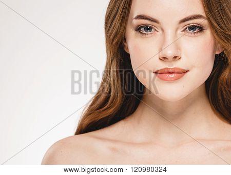 Beautiful Woman Face Close Up Portrait Studio On White