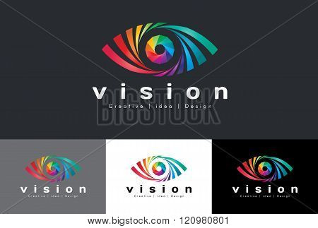 Eye Logo Vector - Rainbow Colorful Tone Is Mean Vision Creative Idea And Design