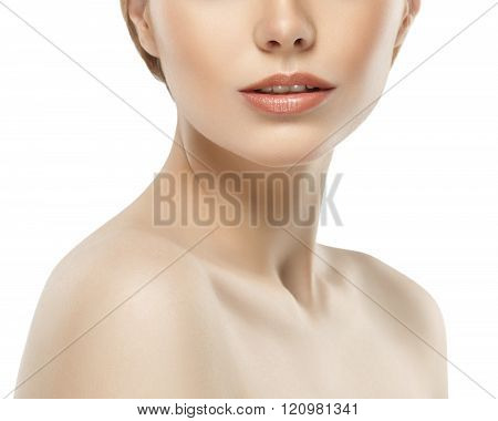 Woman Neck Shoulder Lips Nose Chin Cheeks