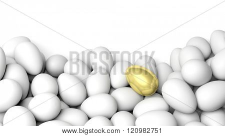White eggs and one golden, isolated on white with copy-space
