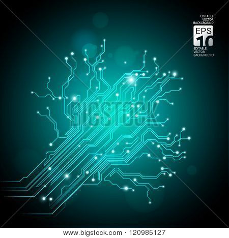 high tech tree - vector background with circuit board texture
