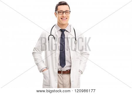 Studio shot of a young cheerful doctor in a white coat isolated on white background