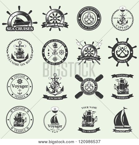 Set of vintage nautical labels, icons and design elements.