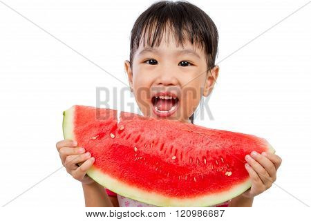 Asian Little Chinese Girl Eating Watermelon